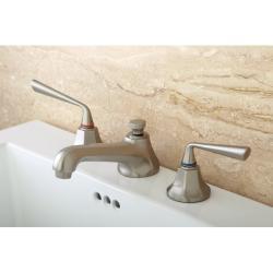 Contemporary Satin Nickel Widespread Bathroom Faucet