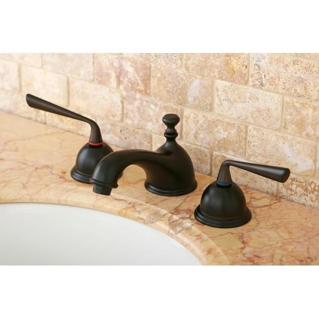 Oil-Rubbed-Bronze Double-Handle Widespread Bathroom Faucet