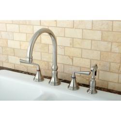 Satin Nickel 4-hole Kitchen Faucet and Brass Sprayer