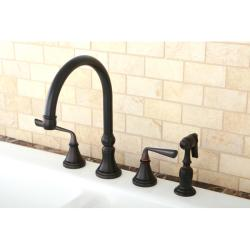 Oil Rubbed Bronze 4-hole Kitchen Faucet and Brass Sprayer