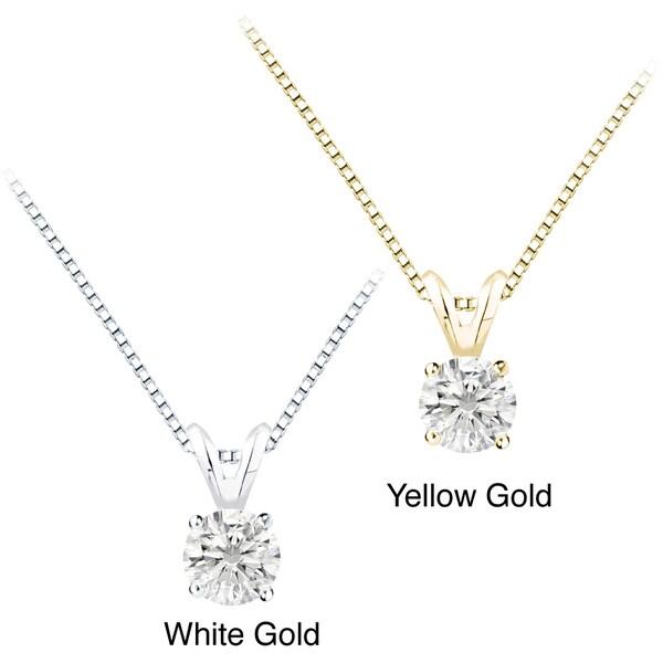 Auriya 14k Gold 1.25ct TDW Round Diamond Solitaire Necklace