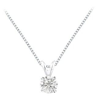 Auriya 14k Gold 1.25ct TDW Round Solitaire Diamond Necklace