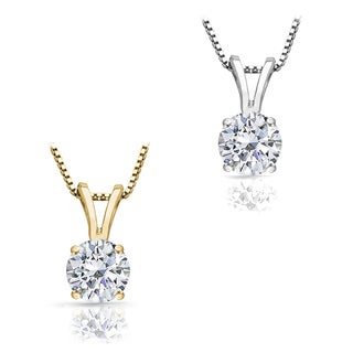 14k White or Yellow Gold 1 1/4ct TDW Round Diamond Solitaire Necklace