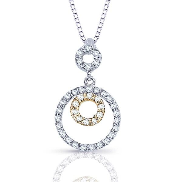 Auriya 14k Two Tone Gold 0.15ct TDW Diamond Circle Necklace