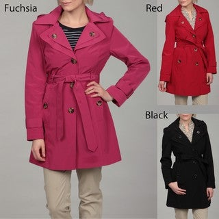 London Fog Women's Belted Hooded Coat