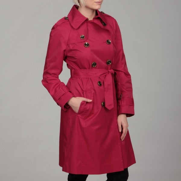 London Fog Women's Raspberry Double-breasted Trench Coat
