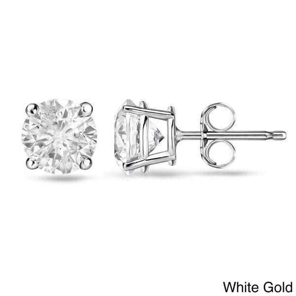 Auriya 14k White or Yellow Gold 1/2ct TDW Round Diamond Stud Earrings