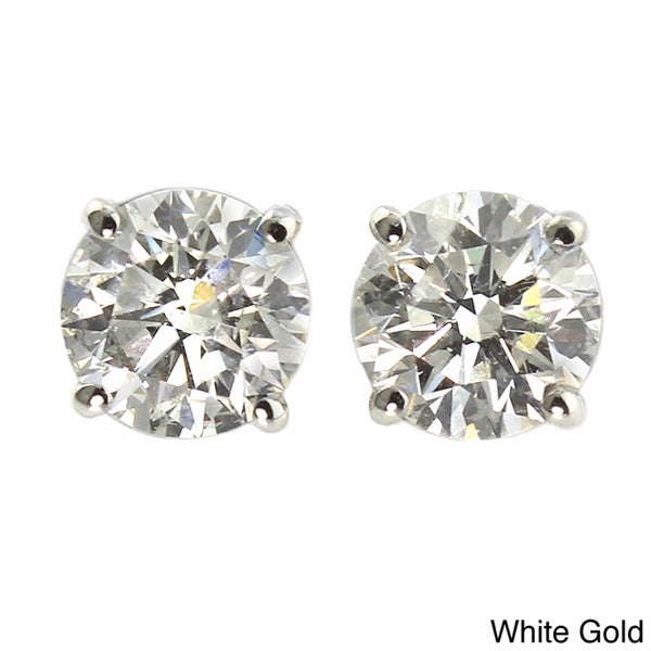 14k Gold 1/2ct TDW Round Diamond Hearts and Arrows Stud Earrings (H-I, VS1-VS2)