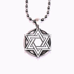 Bico Australia Fine Grade Pewter Star of David Medallion Pendant Necklace