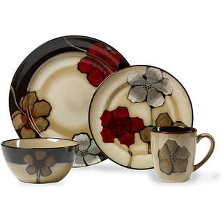 pfaltzgraff painted poppies stoneware 16piece dinnerware set service for 4