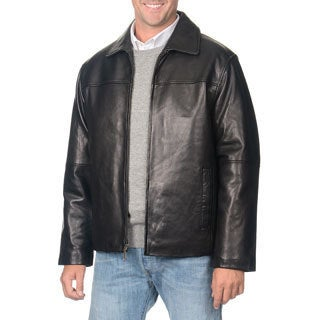 Men's Boston Harbour Black Leather Jacket - Free Shipping Today ...