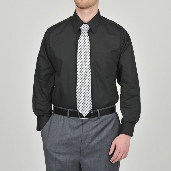 Alexander Julian Colours Men's Black Dress Shirt and 'Neat' Tie ...