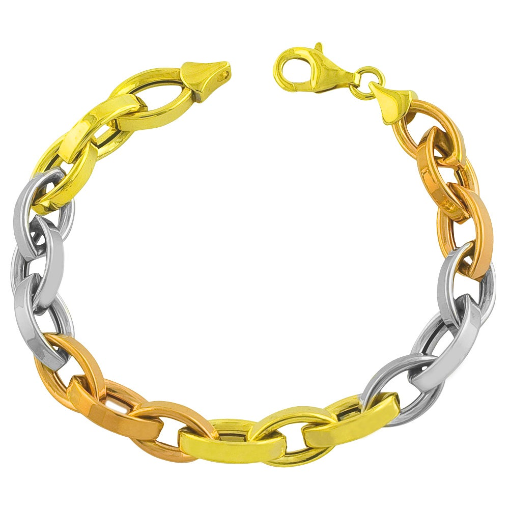 Solid 14k Three Color Yellow White Rose Tri-Gold Stampato Heart Bracelet