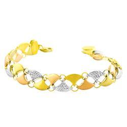 Fremada 14k Tri-color Gold Polished Diamond-cut Satin Bracelet