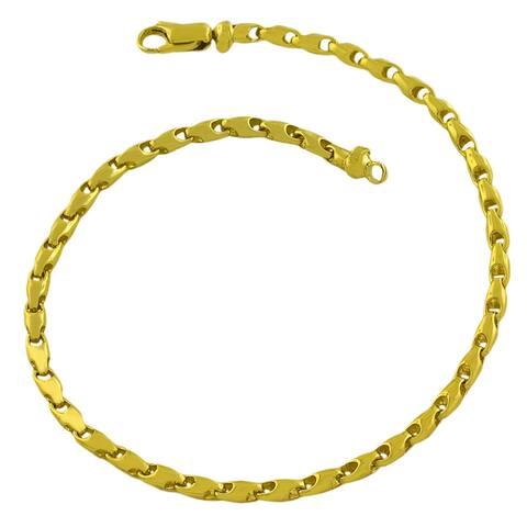 Fremada 14k Yellow Gold Barrel Link Bracelet