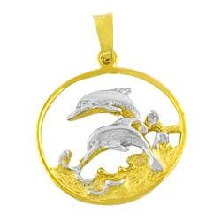 Fremada 14k Two Tone Gold Dolphins In Surf Pendant