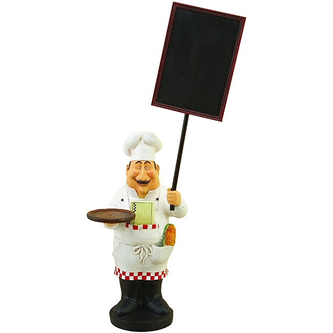Large French Chef Figurine with Welcome Chalkboard