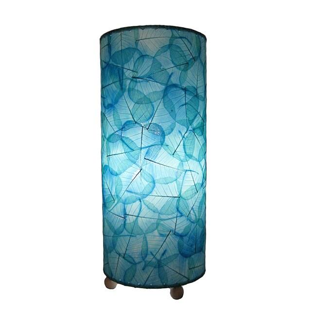 Handmade Sea Blue Banyan Leaf Table Lamp (Philippines)