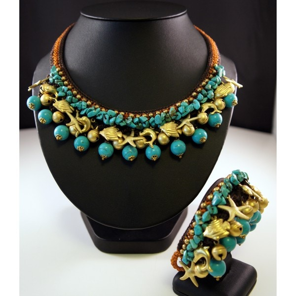 Handmade Turquoise and Brass Beads Necklace and Bracelet Set (Thailand)