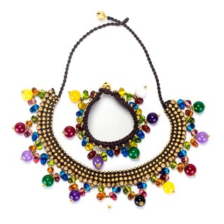 Handmade Multicolored Stones and Brass Beads Necklace and Bracelet Set (Thailand)