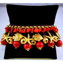 Handmade Red Coral and Brass Bead Bracelet (Thailand)