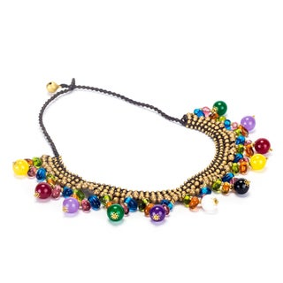 Handmade Multicolored Stones and Brass Beads Necklace (Thailand)