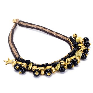 Handmade Onyx and Brass Beads Necklace (Thailand)