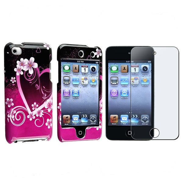 INSTEN Purple Heart iPod Case Cover/ LCD Screen Protector Guard Apple iPod Touch 4th Gen