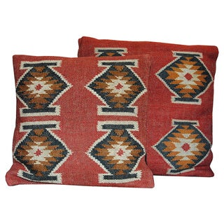 """Link to Handmade Kilim Flatweave Pillow, Set of 2 (India) - 20"""" x 20"""" Similar Items in Decorative Accessories"""