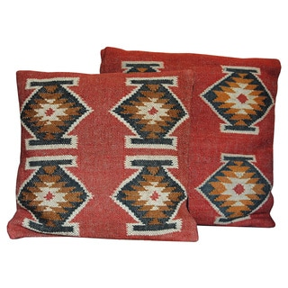 Handmade Herat Oriental Tribal Indo Kilim Flat Weave Pillows (Set of 2)
