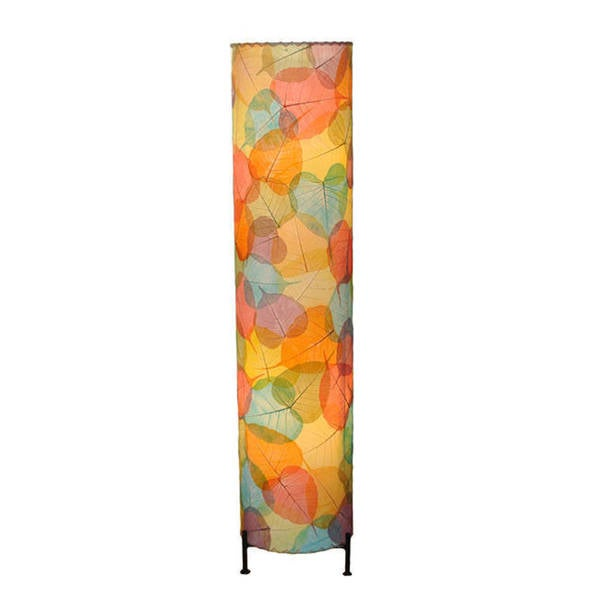 Handmade Multicolor Banyan Leaf Large Floor Lamp (Philippines)