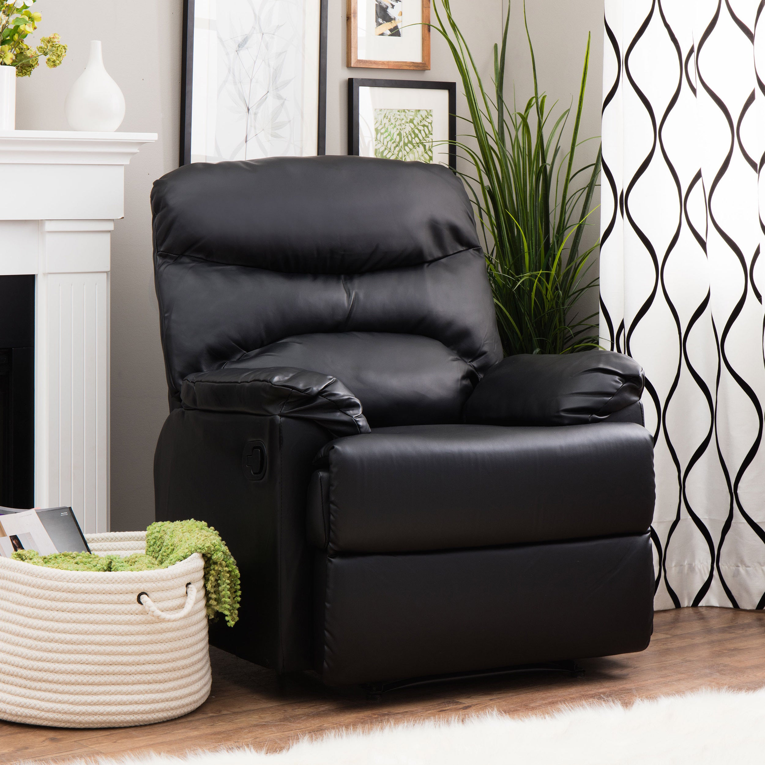 Incredible Tucker Black Bonded Leather Recliner Theyellowbook Wood Chair Design Ideas Theyellowbookinfo