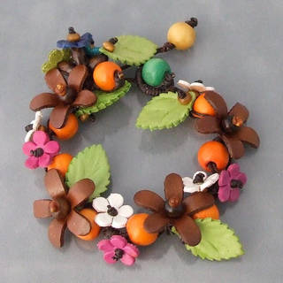 Handmade Organic Leather Daisy Garland Bracelet (Thailand) (Option: Orange)