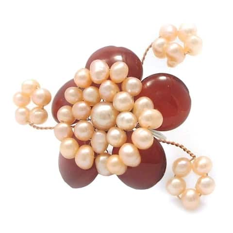Handmade Goldtone Carnelian and Pink Pearl Flower Ring (Thailand)