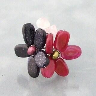 Handmade Silvertone Sandstone, Quartz and Pearl Ring (Thailand)