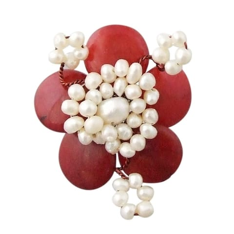 Synthetic Coral and White Pearls Floral Free Size Ring (Thailand)