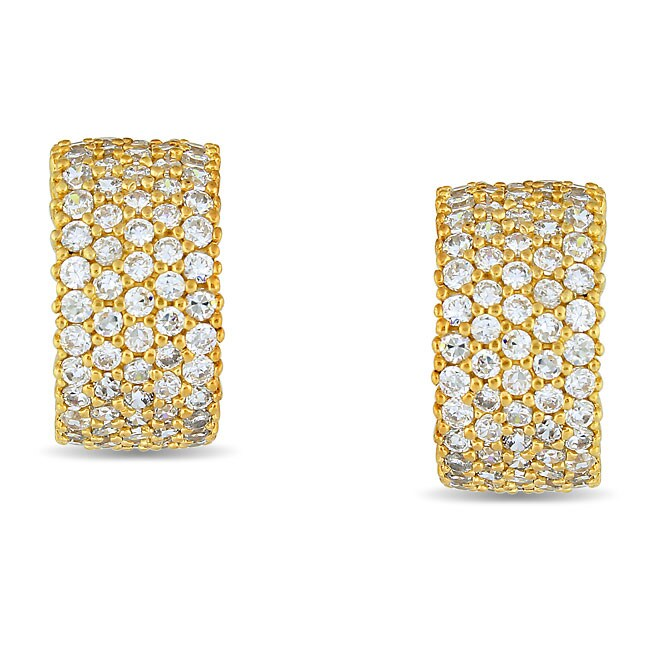 Miadora Sterling Silver 5 3/5 CT TGW Cubic Zirconia Cuff Earrings