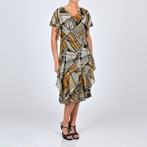 Robbie Bee Women's Printed Chiffon Embellished Dress