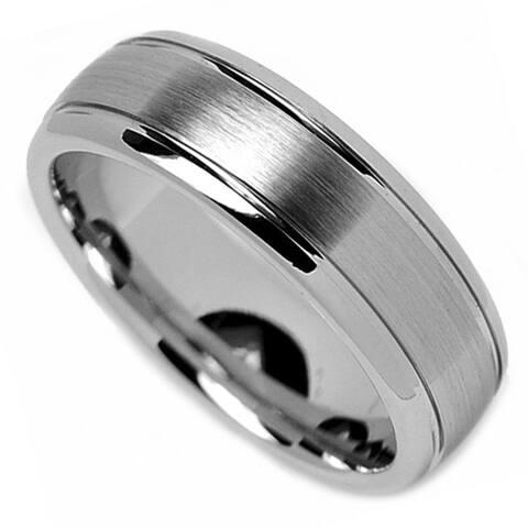 Oliveti Cobalt Chrome Men's Dome Comfort Fit Band (7 mm) - White