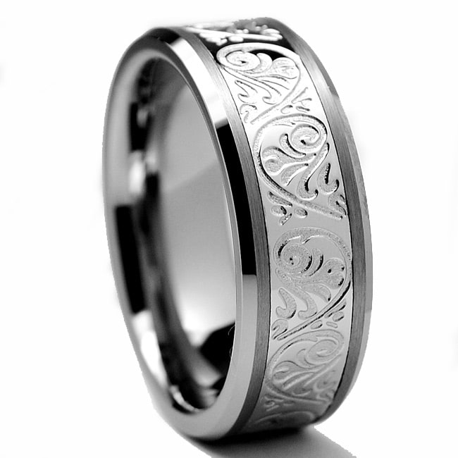 Men's Tungsten Carbide and Stainless Steel Inlay Ring with Engraved Florentine Design (8 mm)