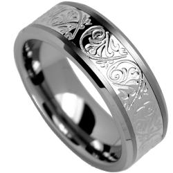 Men's Tungsten Carbide and Stainless Steel Inlay Ring with Engraved Florentine Design (8 mm) - Thumbnail 1