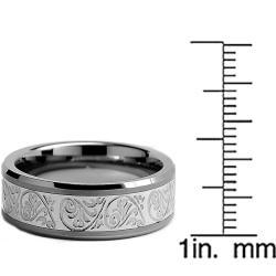 Men's Tungsten Carbide and Stainless Steel Inlay Ring with Engraved Florentine Design (8 mm) - Thumbnail 2