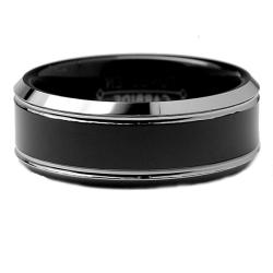 Men's Tungsten Carbide Black-plated Comfort Fit Band (8 mm)