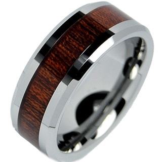 8mm Beveled Edge Ceramic Comfort Fit Mahogany Carbon Fiber Fibre Wedding Band Ring Size 5 to 15