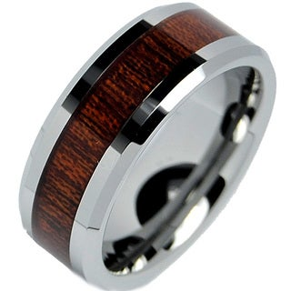 Men S Tungsten Carbide Wood Inlay Band 8 Mm