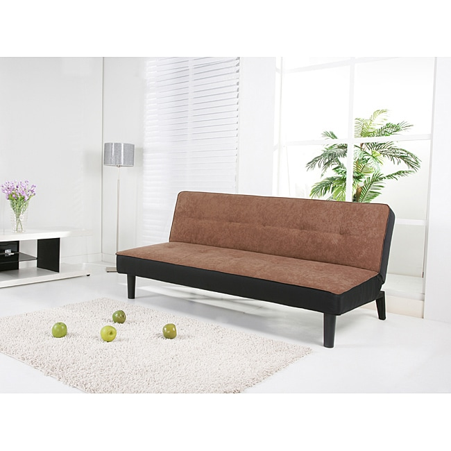 Columbus Brown Fabric Futon Sofa Bed
