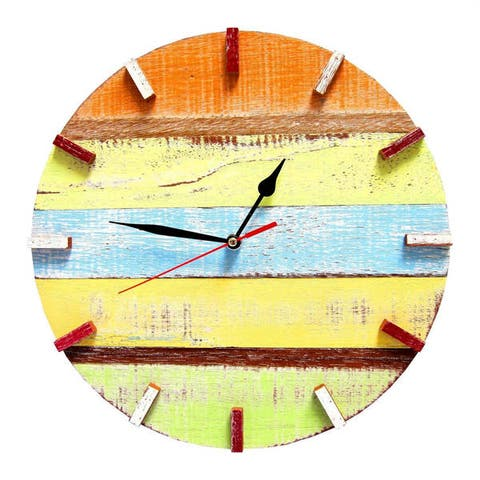 Handmade Recycled Boat Wood Beach House Clock (Thailand)