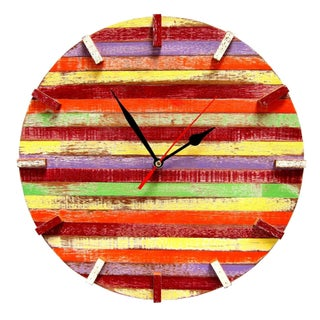 Handmade Recycled Boat Wood Beach House Clock (Thailand) (5 options available)
