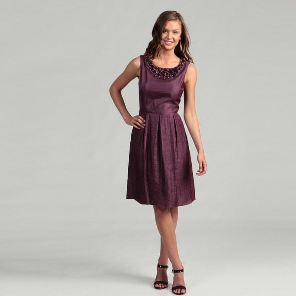 Adrianna Papell Women's Ice Plum Beaded Dress