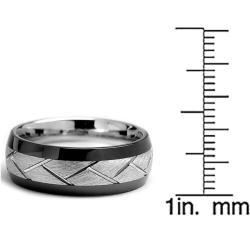Oliveti Cobalt Chrome and Ceramic Men's Two-tone Comfort Fit Band (8 mm)
